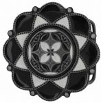 Celtic Flower black/white Belt Buckle with display stand. Code KK7